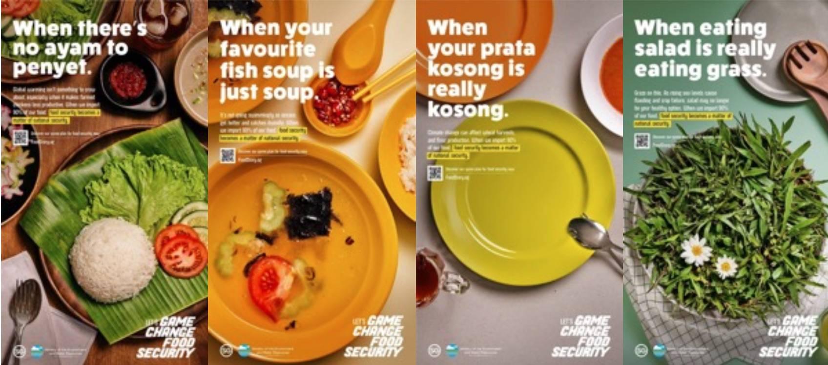 Campagne lancée par le gouvernement singapourien pour sensibiliser les citoyens aux enjeux de la sécurité alimentaire (Let's game change food security), 2020